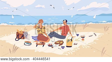 Happy Couple Drinking Wine And Eating At Seaside. Young Man And Woman Spending Time Together At Picn