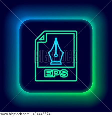 Glowing Neon Line Eps File Document. Download Eps Button Icon Isolated On Black Background. Eps File
