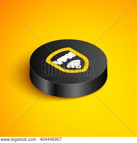 Isometric Line Shield With Vpn And Wifi Wireless Internet Network Symbol Icon Isolated On Yellow Bac