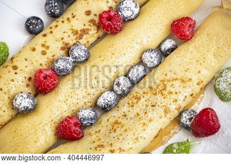 Sweet Breakfast, Homemade Pancakes With Blueberries And Raspberries