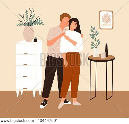 Young Romantic Couple Standing Together In Furnished Room Of Their New Apartment In Scandinavian Sty