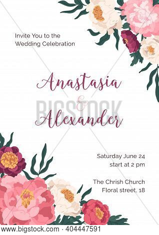 Design Of Wedding Invitation With Elegant Lush Flowers. Vertical Floral Template Of Inviting Card Wi