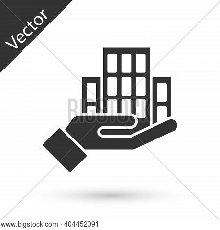 Grey Skyscraper Icon Isolated On White Background. Metropolis Architecture Panoramic Landscape. Vect