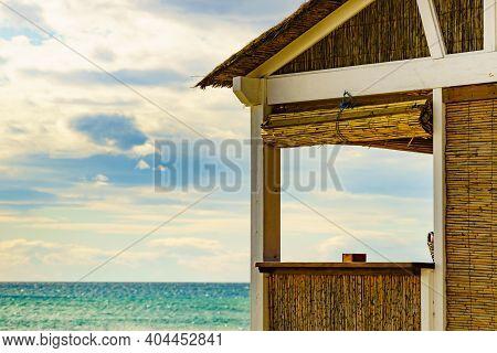 Sandy Seashore With Bamboo Hut Bar. Motril Beach. Costa Tropical, Province Granada, Andalucia Spain.
