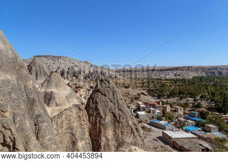 Selime, Turkey - October 5, 2020: This Is A View Of The Residential Village And The Fabulous Landsca