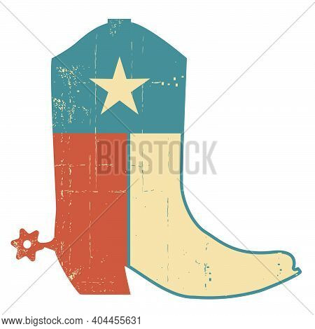 Cowboy Boots With Texas Flag Decoration. Grunge Vector American Symbol Vintage Illustration Isolated