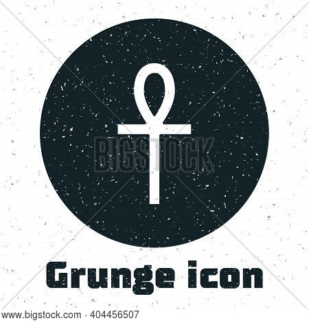 Grunge Cross Ankh Icon Isolated On White Background. Monochrome Vintage Drawing. Vector