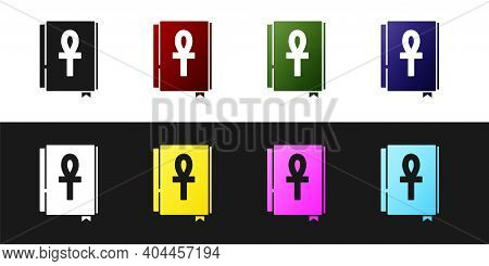 Set Cross Ankh Book Icon Isolated On Black And White Background. Vector