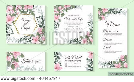 Vector Template For Wedding Invitation. Magnolia Flowers, Green Branches, Leaves. All Elements Are I