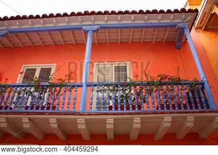 Detail Of A Colonial House. Typical Balcony. Spanish Colonial Home. Cartagena De Indias, Colombia. I