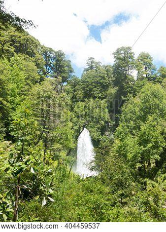 Water Jump El Rincon Of El Venado River, In Conaripe, Panguipulli, In The Middle Of The Villarica Na