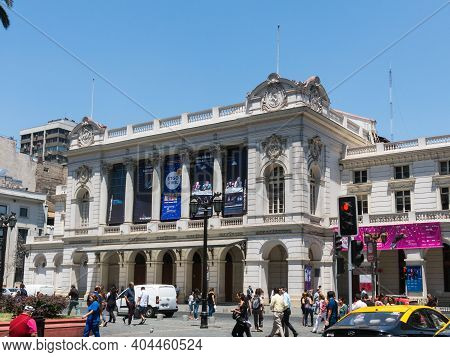 Santiago De Chile - January 26, 2018: The Teatro Municipal, National Opera Of Chile Is The Most Impo