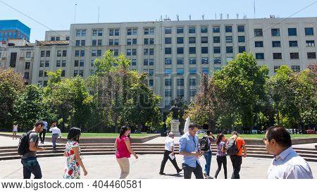 Santiago, Chile - January 26, 2018:view Of Plaza De La Constitución, In The Center Of The City Of Sa