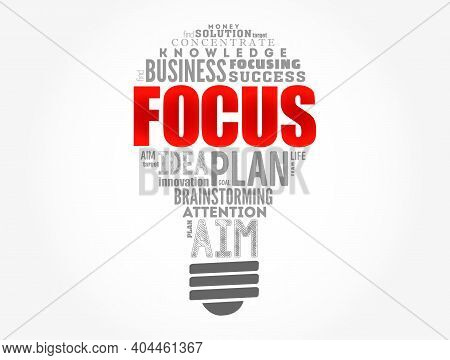 Focus Light Bulb Word Cloud Collage, Business Concept Background