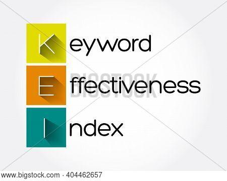 Kei - Keyword Effectiveness Index Acronym, Business Concept Background