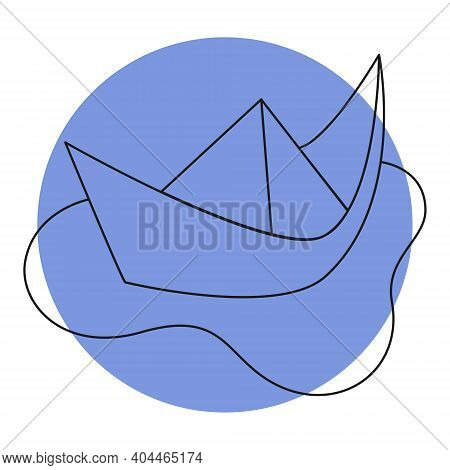 Paper Boat In A Puddle Icon On Color Backgrond. Simple Line Doodle Paper Boat In A Puddle Icon. Vect