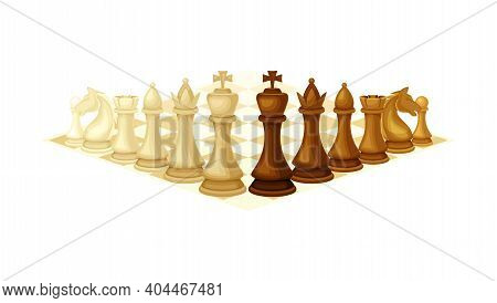 Chessboard With Chess Pieces As Chess Or Strategy Board Game Vector Illustration