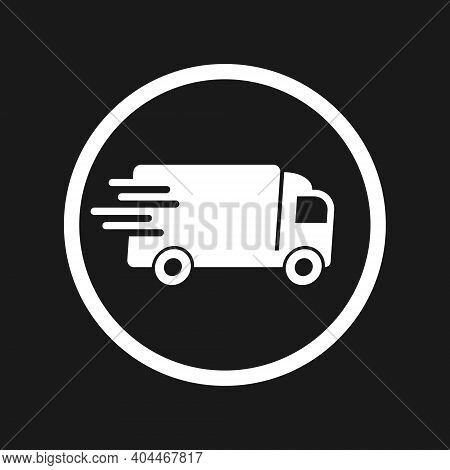Delivery Truck Vector Icon. Fast Moving Transport Service Car Symbol. Speed Shipping Sign. Logistic