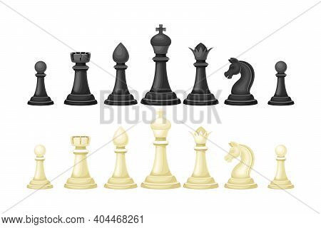 Black And White Chess Piece Or Chessman Vector Set