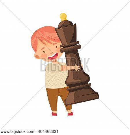 Little Boy Carrying Giant Black Queen Chess Piece Or Chessman Vector Illustration