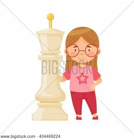 Little Girl Standing With Giant White King Chess Piece Or Chessman Vector Illustration