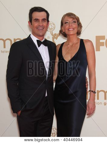 LOS ANGELES - AUG 11:  TY BURRELL & WIFE arriving to Emmy Awards 2011  on August 11, 2012 in Los Angeles, CA
