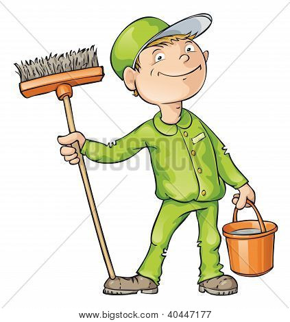 Cleaner Holding A Brush And A Bucket