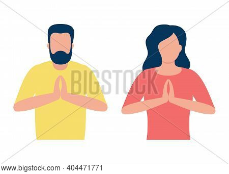 People In Pose Yoga, Hands Namaste. Man And Woman Do Meditation For Benefits Health Of Body, Mind An