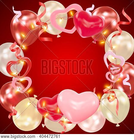 Valentines Day Dark Red Background With Hearts, Balloons, Shining Garlands, Tinsel. Romantic Composi