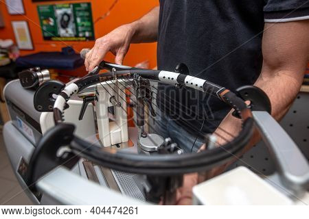 Stringing Process Of A New Tennis Racket, Rocket String, Sport Concept