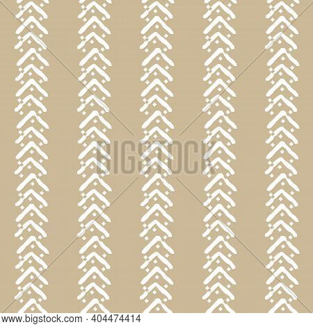 White Seamless Vertical Repeat Border Pattern With Small Jagged Lines, Squares, Incomplete Triangles