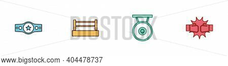 Set Boxing Belt, Ring, Gong And Punch Boxing Gloves Icon. Vector