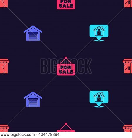 Set Location With House, Garage, Hanging Sign For Sale And Market Store On Seamless Pattern. Vector