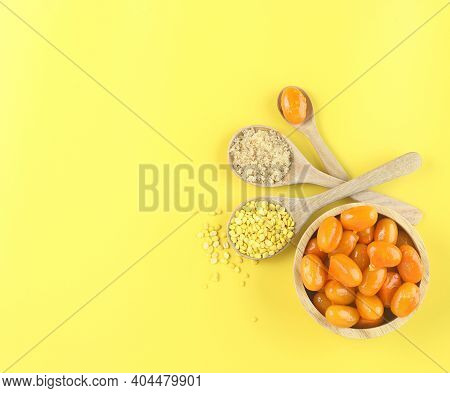 Top View Of Thai Dessert On Yellow Background , Flat Lay