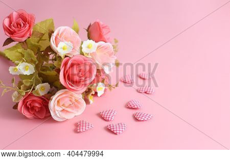 Love Background - Bouquet Of Rose And Heart Shape On Pink Background