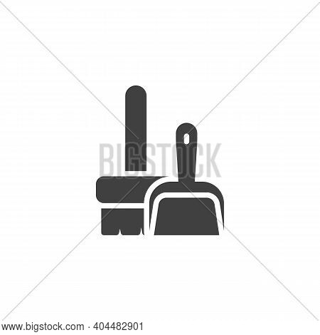 Broom And Scoop Vector Icon. Filled Flat Sign For Mobile Concept And Web Design. Dustpan And Broom G