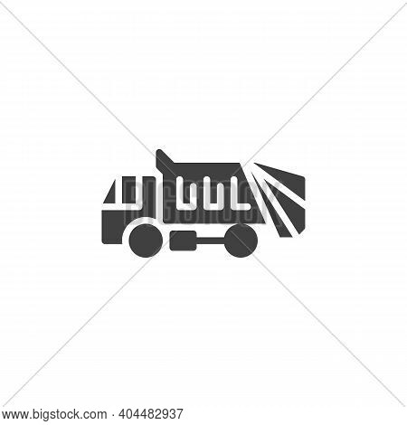 Garbage Truck Vector Icon. Filled Flat Sign For Mobile Concept And Web Design. Garbage Truck Transpo