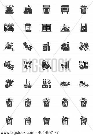 Zero Waste Vector Icons Set, Waste Sorting Modern Solid Symbol Collection, Filled Style Pictogram Pa