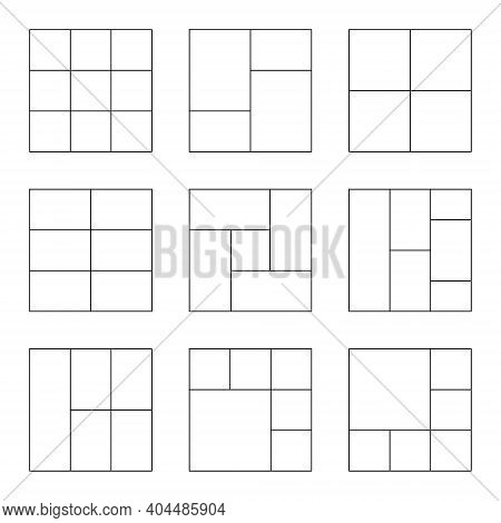 Templates For Photo In Line Style. Photo Collage Set. Empty Photo Collage. Vector