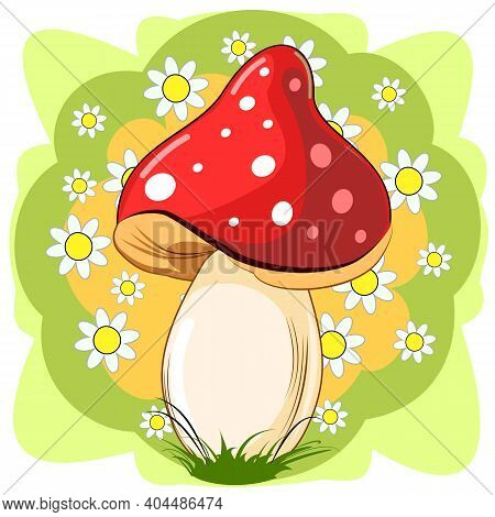 Red Fly Agaric Mushroom On The Background Of A Blooming Meadow. Wildflowers And Grass. Vector Isolat