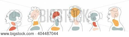 Continuous Line, Drawing Of Set Faces And Hairstyle. Modern Abstract Faces With Abstract Shapes. Por