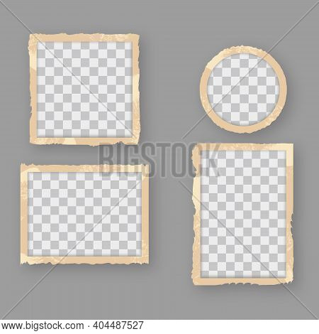 Vintage Retro Photo Frames With Empty, Blank Space. Template Of Old Retro Photographs. Realistic Ant