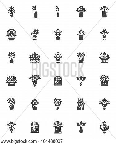 Flowers Bouquets Vector Icons Set, Modern Solid Symbol Collection, Filled Style Pictogram Pack. Sign