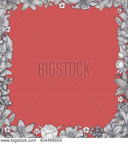 Lily Flowers. Square Frame. Background Illustration. Hand Drawing Outline. Flowering Of Garden Plant