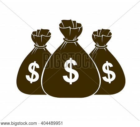 Three Moneybags Money Bag Vector Simplistic Illustration Icon Or Logo, Business And Finance Theme, I