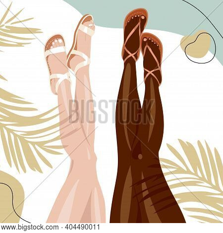 Vector Illustration Of Slender Naked Legs On The Beach, Shadow From A Palm Tree, Sea And Sand On The
