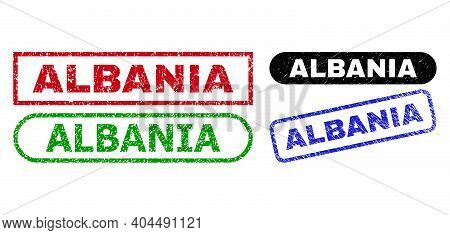 Albania Grunge Seals. Flat Vector Grunge Seals With Albania Slogan Inside Different Rectangle And Ro