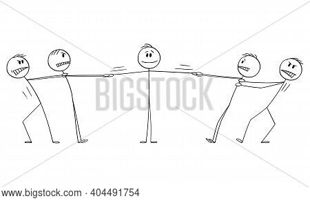 Two Groups Of Men Playing Tug-of-war For Man, Client Or Employee , Business Vector Cartoon Stick Fig