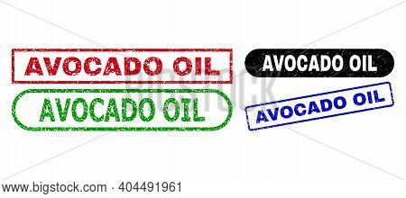 Avocado Oil Grunge Seals. Flat Vector Scratched Watermarks With Avocado Oil Text Inside Different Re