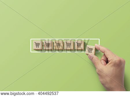Sales Volume Increase, Business Growth Or Increase Profit Concept. Hand Putting Wooden Blocks With S